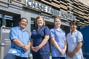 Staff at the new £200m Chase Farm Hospital building