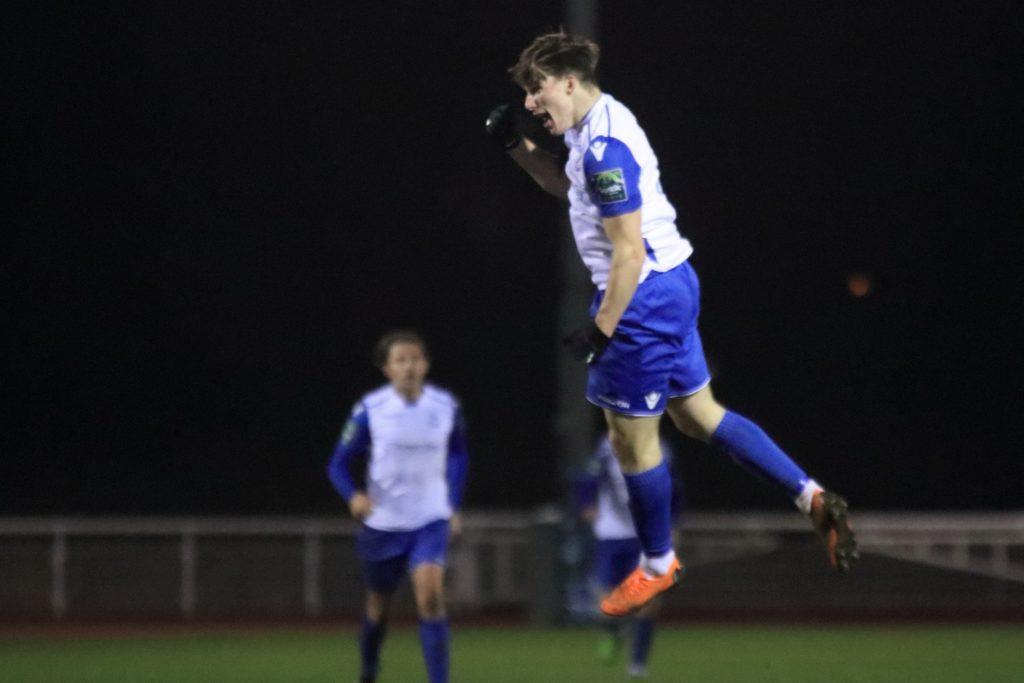 Josh Davison celebrates scoring for Enfield Town