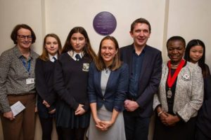 Award-winning entrepreneur Alex Haslehurst (centre) returned to Latymer School in Edmonton where a 'purple plaque' was unveiled in her honour