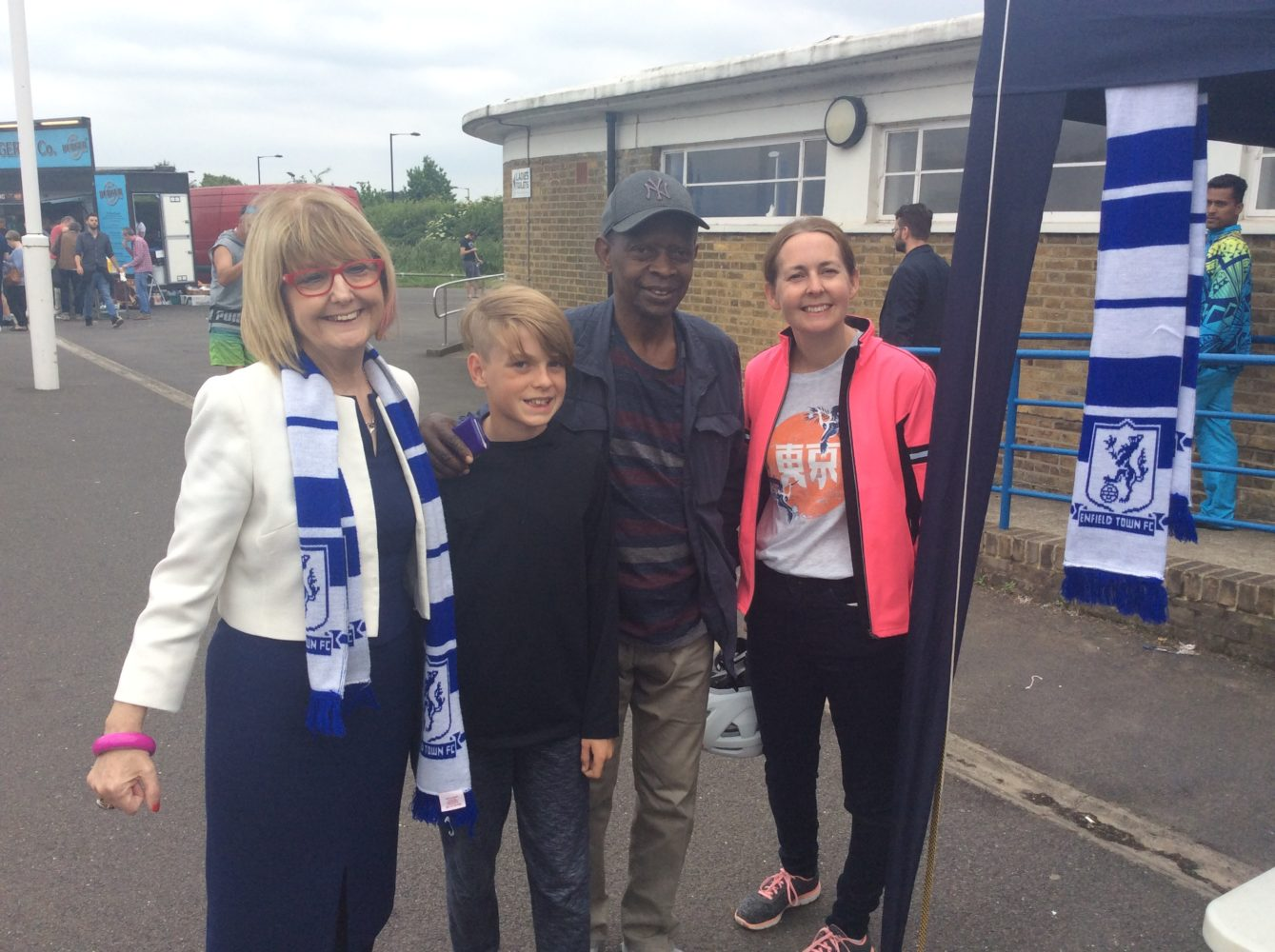 Former mayor Christine Hamilton at Enfield Town's Queen Elizabeth II Stadium