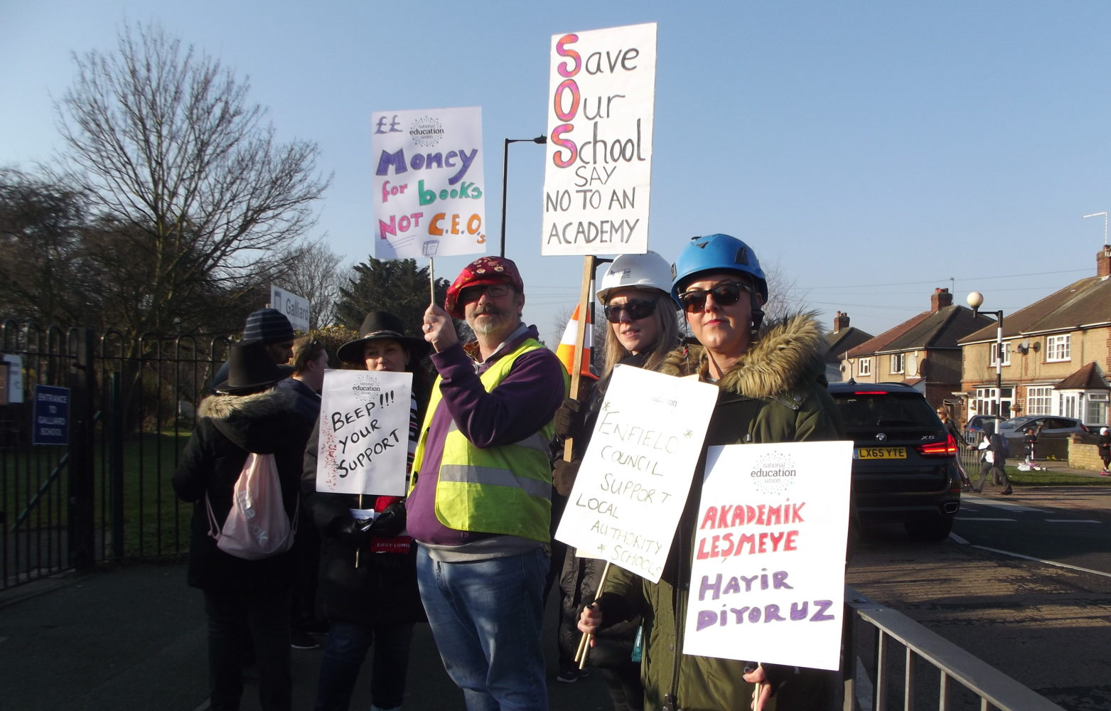 A picket line of striking teachers outside Galliard Primary School