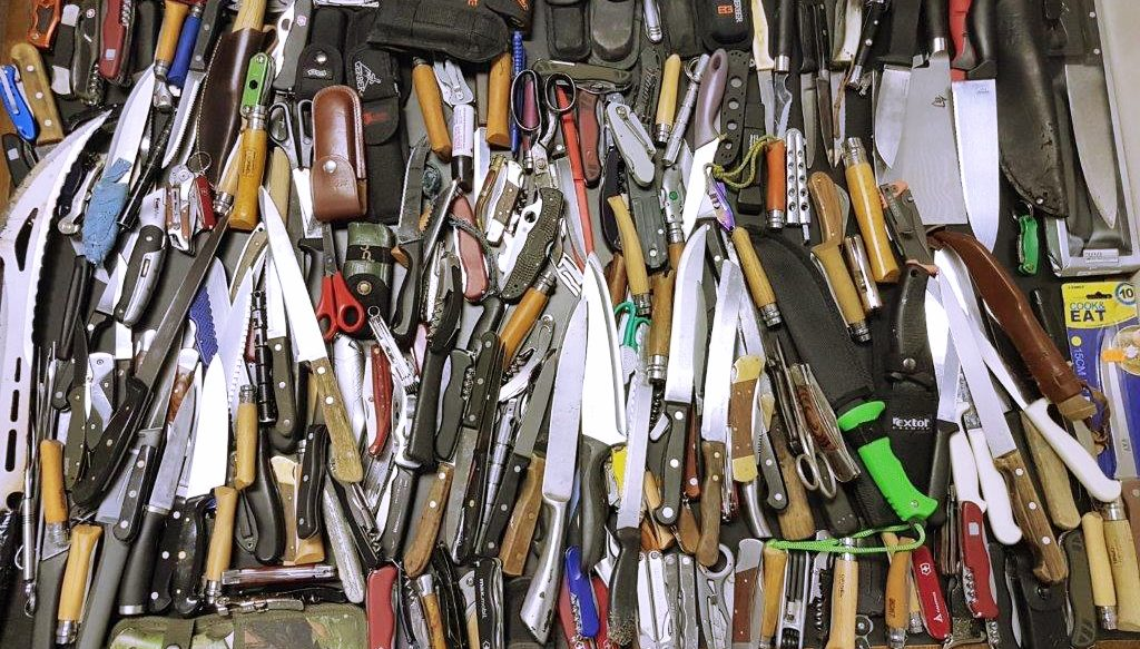 A collection of knives seized by the Metropolitan Police