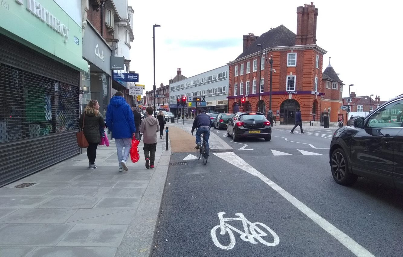 Cycle lanes in Palmers Green