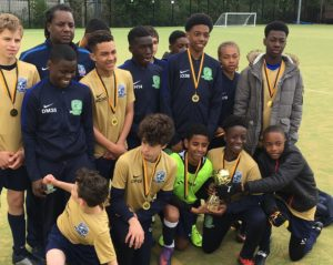 Some of the winners from the #Together football tournament held at Oasis Academy Hadley in Ponders Ends