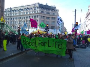 Extinction Rebellion protesters at Oxford Circus in April