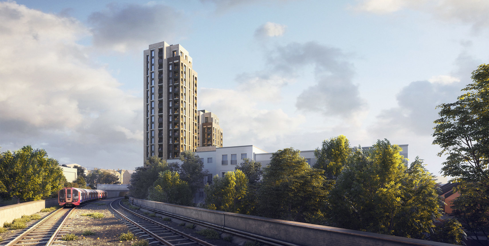 An impression of how the Southgate Office Village development would look, viewed from the Piccadilly Line