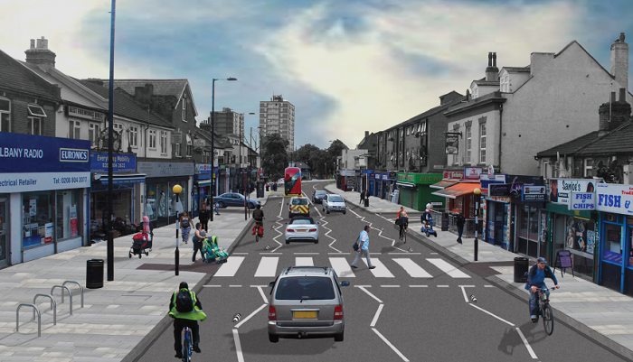 How Hertford Road might look after Cycle Enfield A1010 North scheme is installed