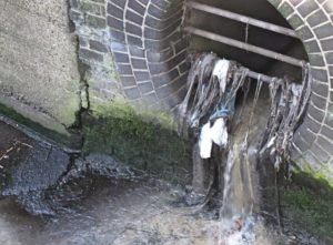 A misconnected drain empties sewage into the Pymmes Brook (credit Thames Water)
