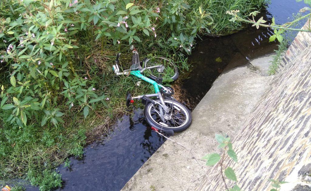 A Beryl hire bike dumped in the Turkey Brook near Enfield Lock