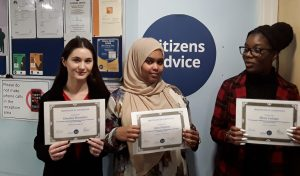 Newly-qualified advisors at Citizens Advice Enfield
