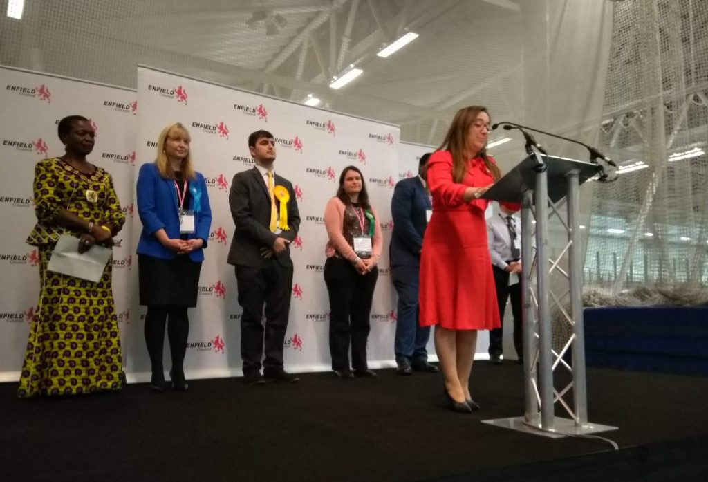 Feryal Clark gives her victory speech after being elected to represent Enfield North