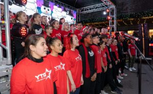Singers from Young Notes and Young Talent Academy perform on stage during a special Christmas lights switch-on event at Palace Gardens Shopping Centre last month (credit Alistair Underwood)