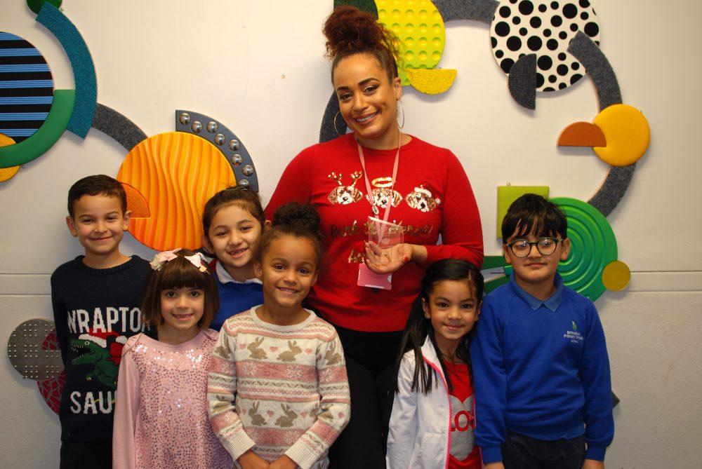Brimsdown Primary School teacher Alysha Allen with her pupils