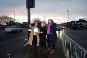 Council leader Nesil Caliskan, London Assembly member Joanne McCartney and deputy mayor Heidi Alexander survey the scene on the A10