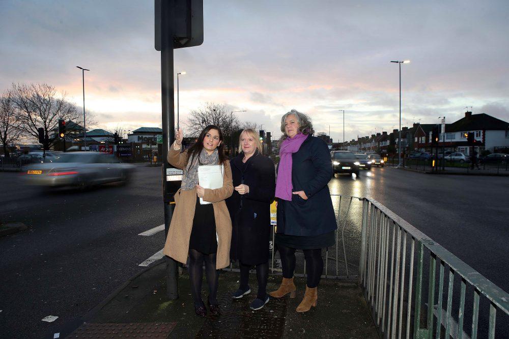 Council leader Nesil Caliskan, London Assembly member Joanne McCartney and deputy mayor Heidi Alexander survey the scene on the A10