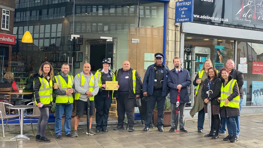 The Enfield Street Watch team outside Heritage in Southgate
