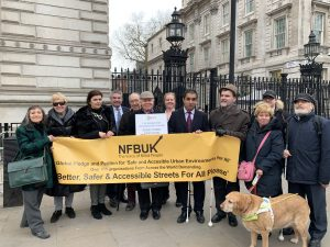 Members of NFBUK and Enfield Town Residents Association hand in their petition to Downing Street