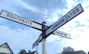 Signpost in Winchmore Hill