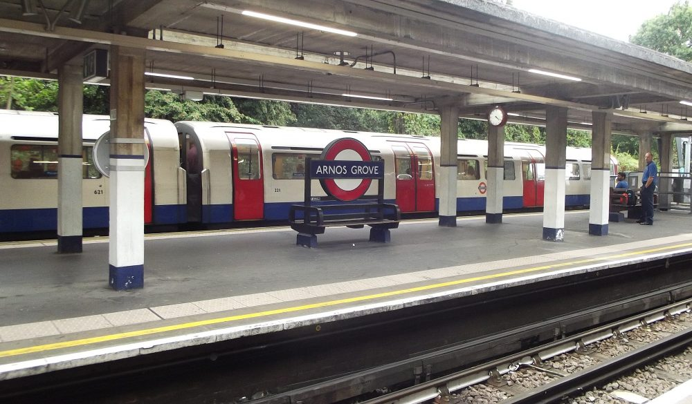 A Piccadilly Line train at Arnos Grove, one of four stations in Enfield served by the London Underground route