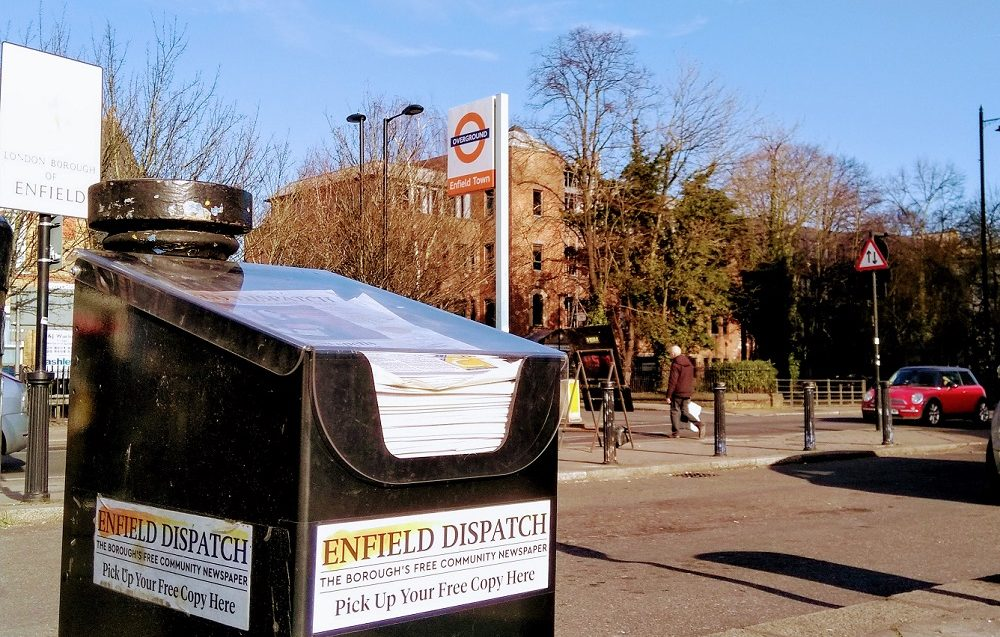 Enfield Dispatch news stand outside Enfield Town Station