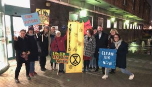 'Rebels' from Extinction Rebellion outside Enfield Civic Centre in January, when they disrupted a council meeting