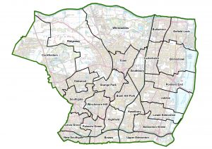 The new Enfield ward map, proposed to introduced from the 2022 local elections