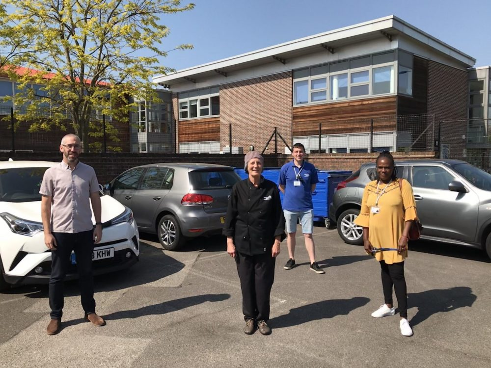 Staff and volunteers (including chief executive Ben Ingber, left) at Wilbury Primary School