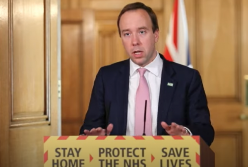 Matt Hancock gives the daily press briefing from Downing Street on 15th April 2020