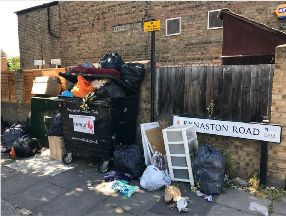 Rubbish piled up in Kynaston Road, Enfield