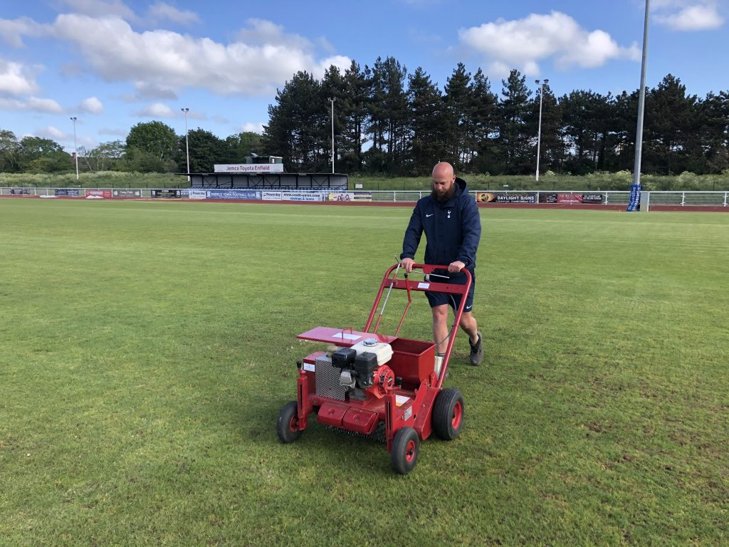 Tottenham Hotspur grounds staff were sent to assist with pitch maintenance at the Queen Elizabeth II Stadium