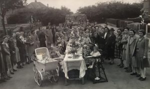 The VE Day street party held in Aylands Road, Freezywater, in May 1945