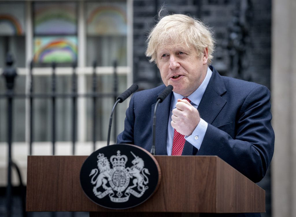 Prime Minister Boris Johnson gives a statement outside 10 Downing Street, as he returned to work following his recovering from Covid-19 (credit Pippa Fowles/10 Downing Street)