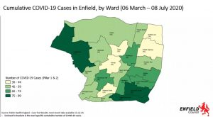 A map showing total cases of Covid-19 for each ward in Enfield