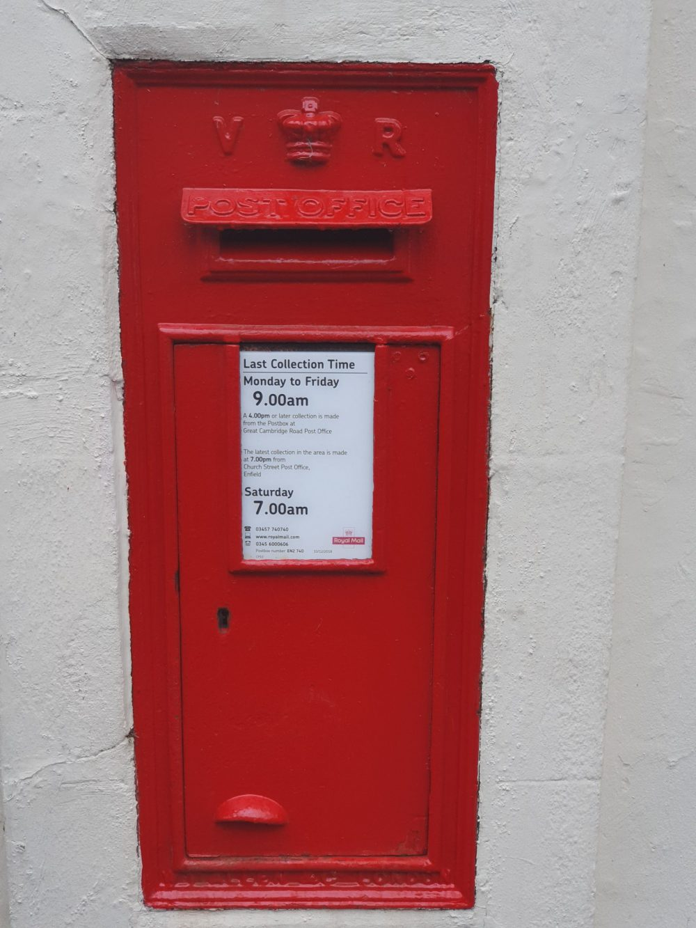 The wallbox in Forty Hill is marked 'VR' after Queen Victoria (credit Steve Chandler)