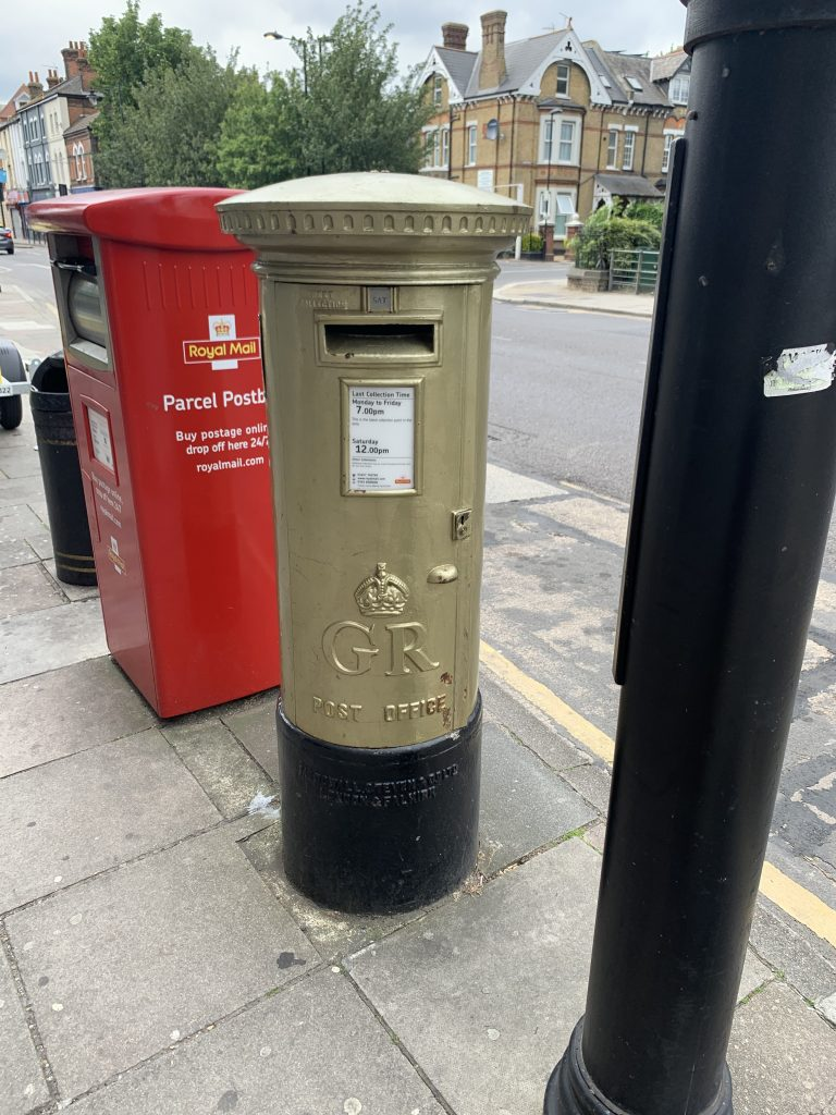 This gold postbox in Southbury Road celebrates London 2012 gold medallist Charlotte Dujardin (credit Jack Gordon)
