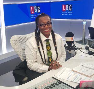 Denise Headley behind the mic at LBC