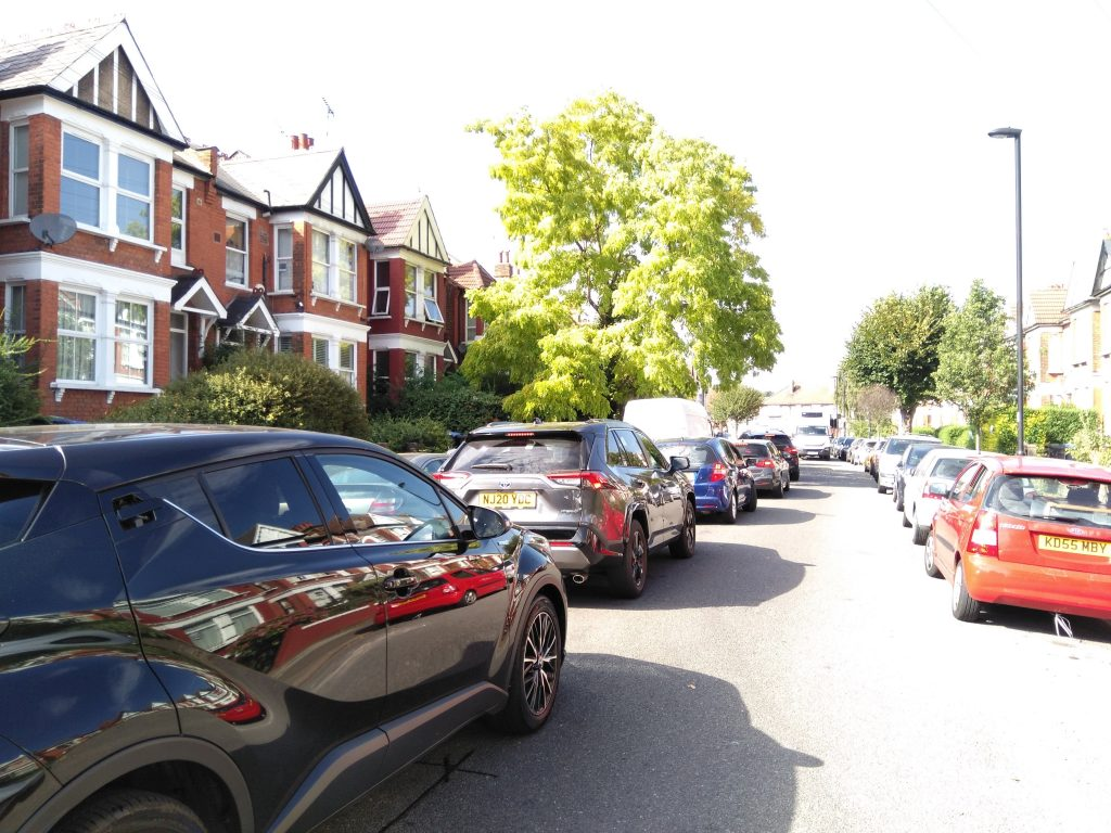 Traffic queueing to enter the North Circular from Warwick Road, prior to the implementation of a low-traffic neighbourhood scheme in Bowes Park