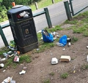 Rubbish strewn around an overflowing litter bin in Trent Park