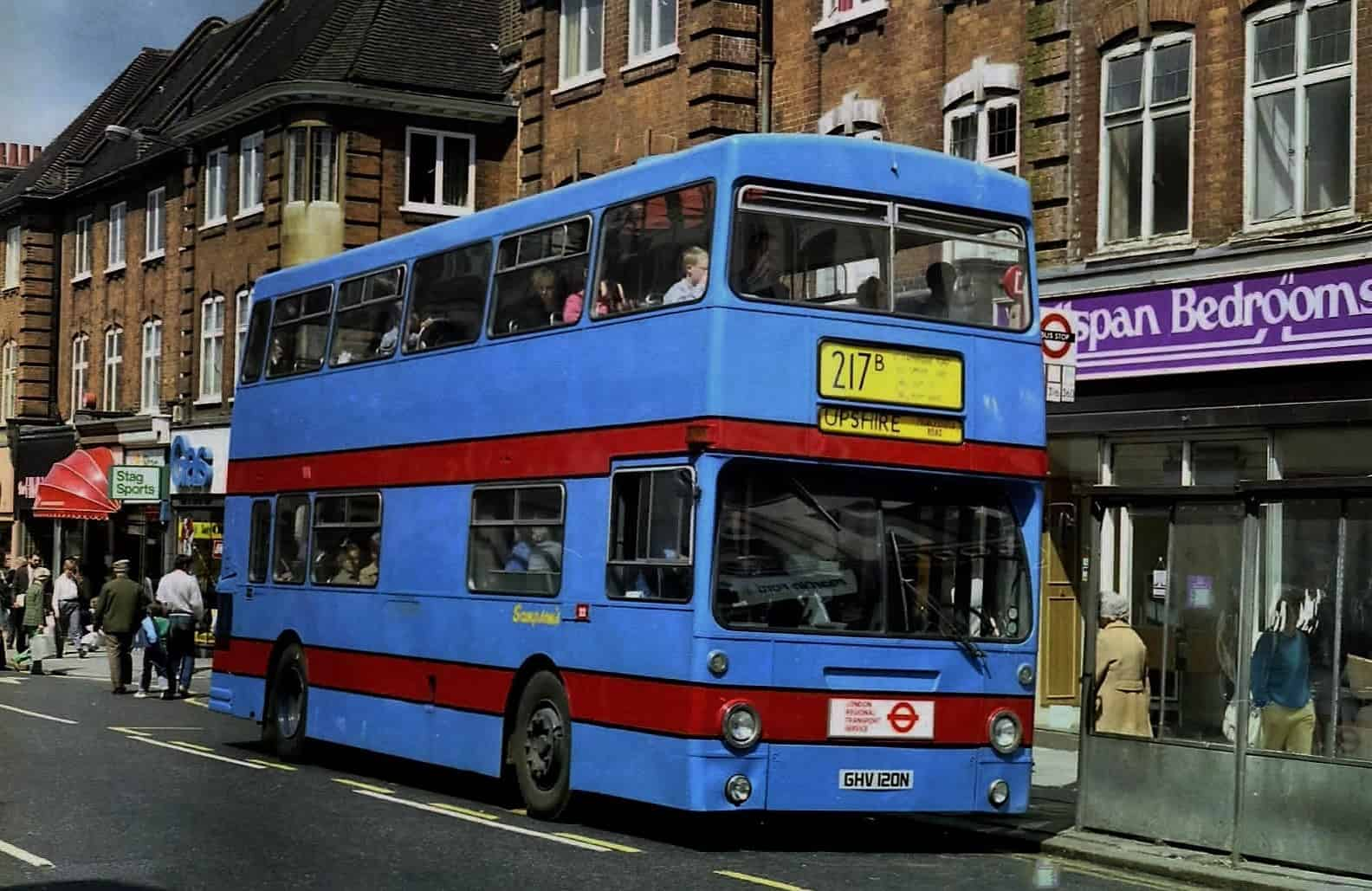 Sampson's Coaches began running route 217b, seen here at Enfield Town, in 1986