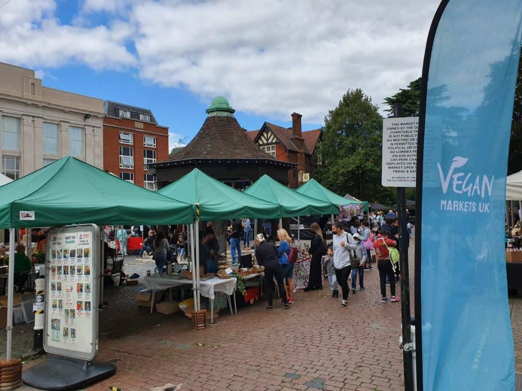 Vegans and vegetarians flocked to Market Square for the event last month, the first of its kind in Enfield