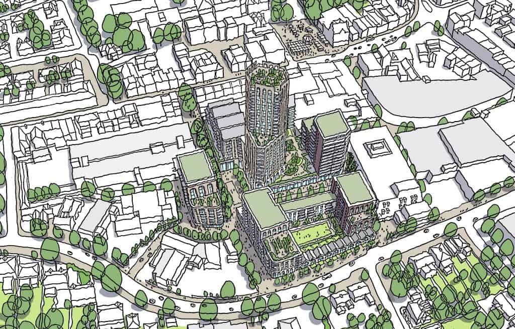 Aerial view of proposals for a 26-storey tower on a redeveloped Palace Gardens shopping centre in Enfield Town