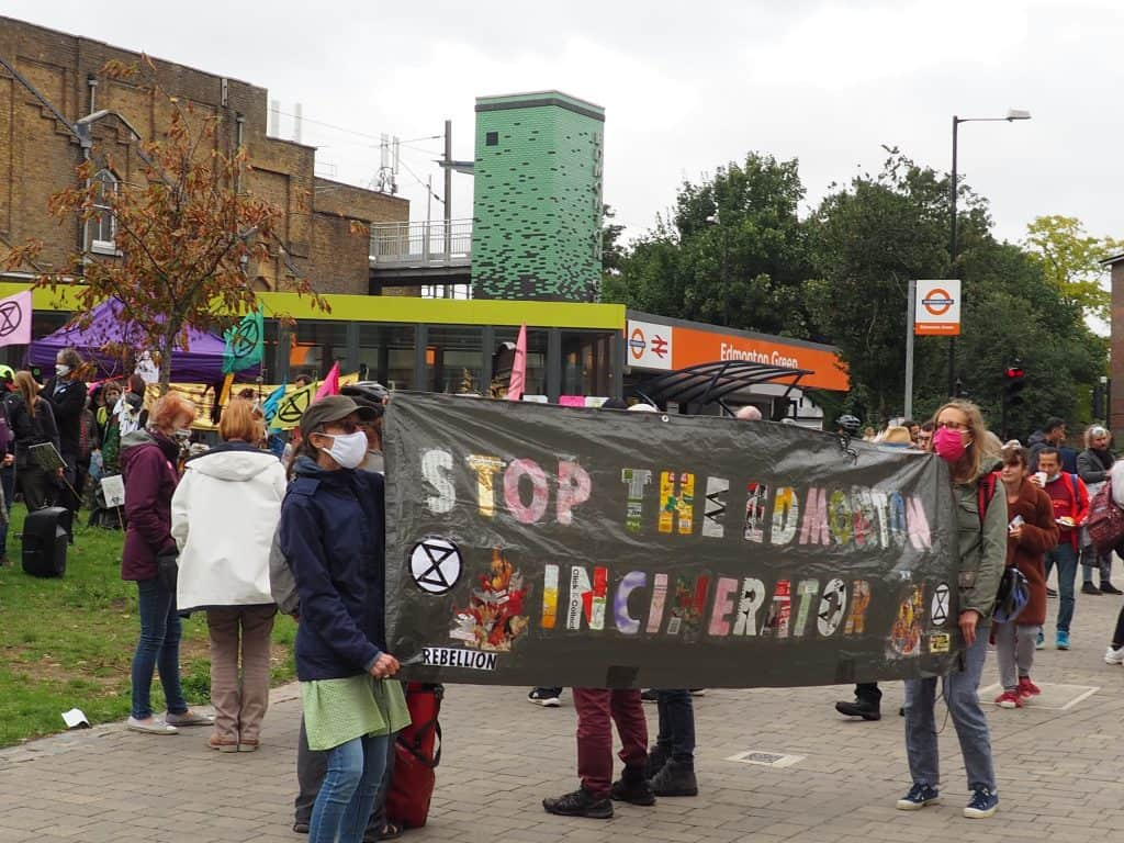 A local branch of Extinction Rebellion recently held a protest against the new Edmonton incinerator, which Enfield Council continues to support (credit Dora Petrou)