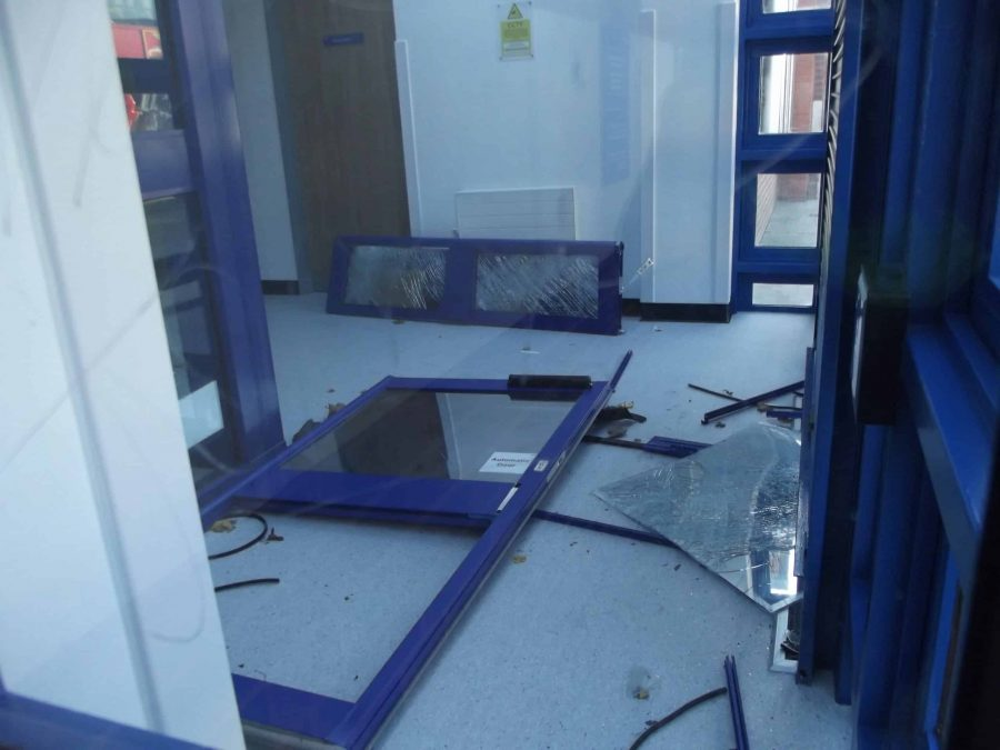 Damage to Edmonton Police Station following an 'attack' on the building