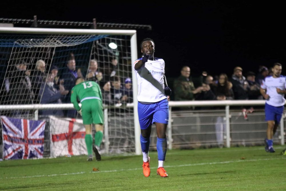 Neville Nzembela celebrates his goal for Enfield Town in what was the club's final game before the second lockdown; an entertaining 3-2 win against Brightlingsea Regent (credit Tom Scott)
