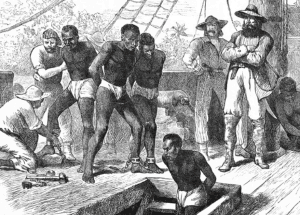 A depiction of slaves aboard a ship crossing the Atlantic in the 19th Century. Engraving by Swain circa 1835 (credit Wikicommons)