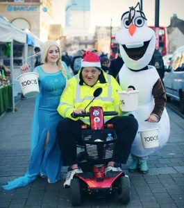 Stuart Hasler fundraising for homeless charity Todos in Enfield Town