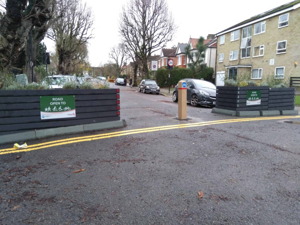Entrance to Maidstone Road in the Bowes Park low-traffic neighbourhood