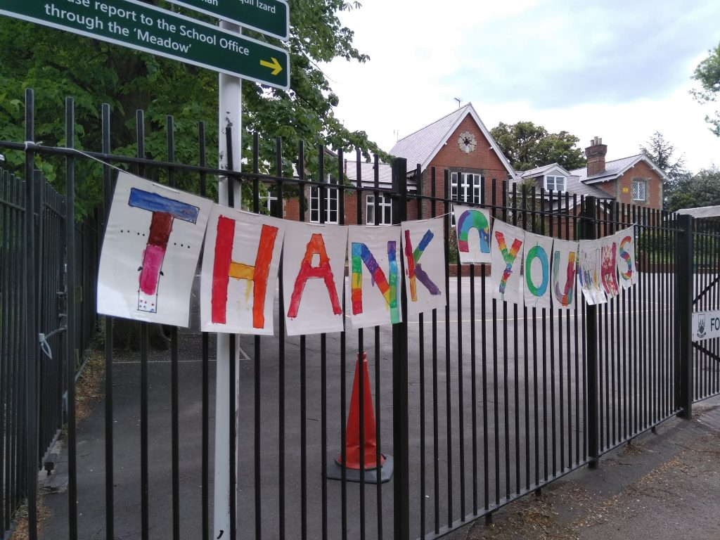 A message thanking NHS workers adorns the gates of an Enfield primary school