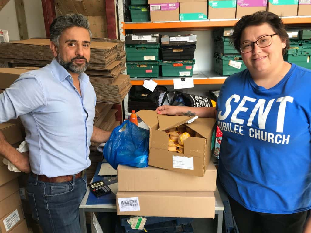Palmers Green Mosque making a donation to North Enfield Foodbank, which is run with help from Jubilee Church and The Trussell Trust