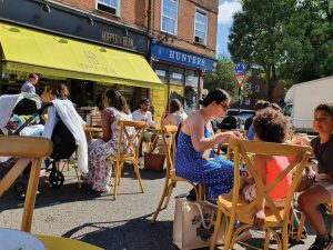 Enfield Council closed a part of The Green to traffic to enable outdoor dining in Winchmore Hill